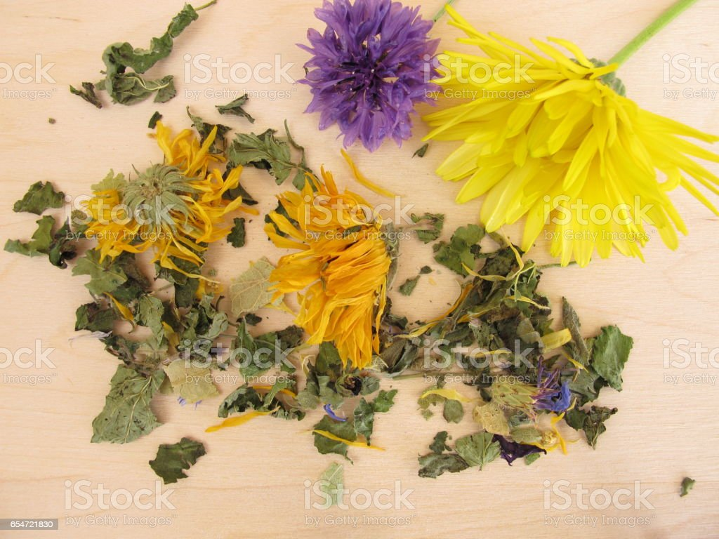 Herbal tea mix with marigold and cornflower stock photo