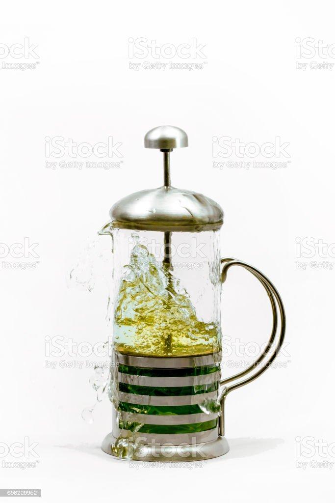 Herbal tea pot stock photo