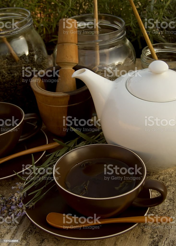 Herbal tea set royalty-free stock photo