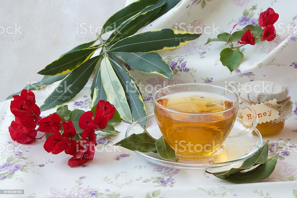 Herbal tea with bay leaf and honey stock photo