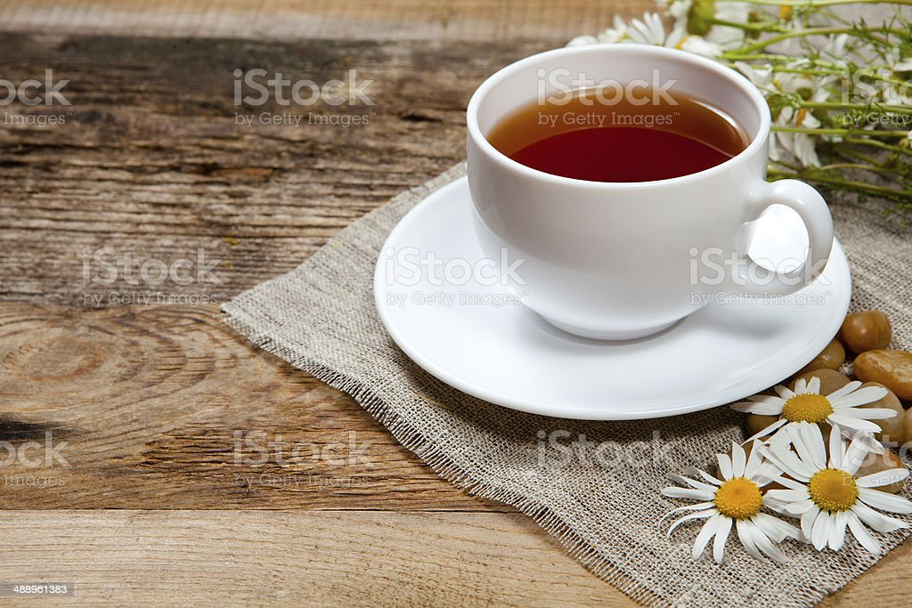 herbal tea with chamomile stock photo
