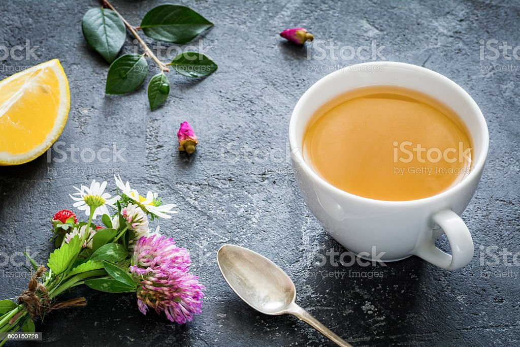 Herbal tea with lemon stock photo