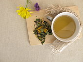 Herbal tea with marigold and cornflower