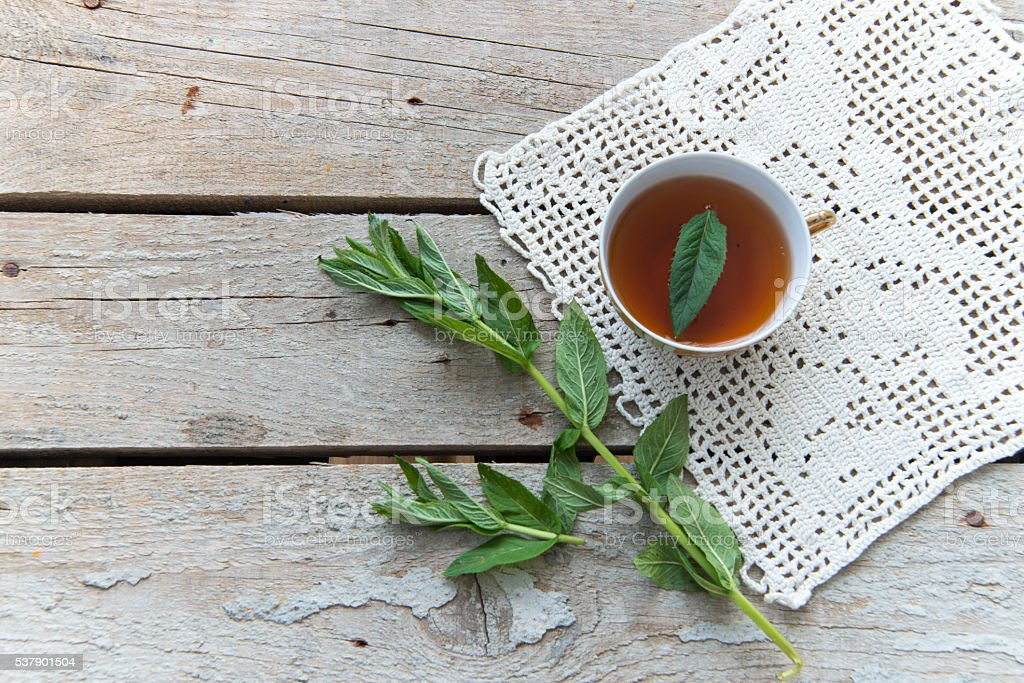 Herbal tea with mint stock photo