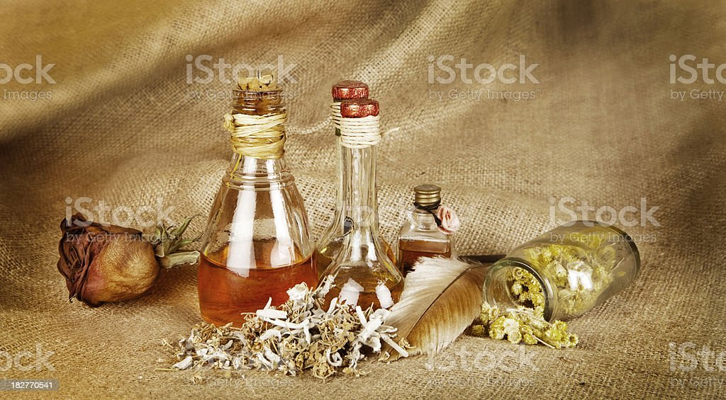 Herbal treatment stock photo