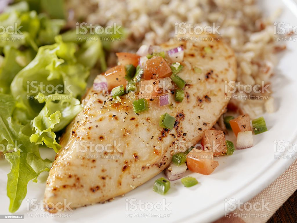 Herbed Chicken Breast with Salsa royalty-free stock photo