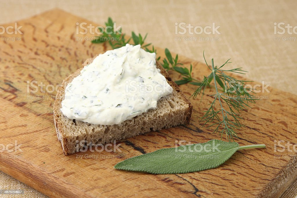 Herbed Curd Cheese stock photo