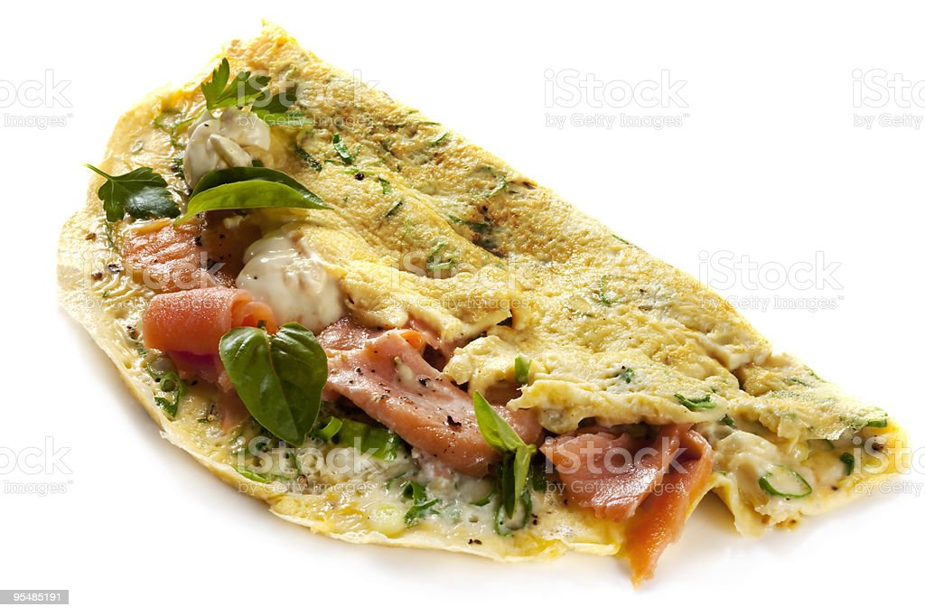 Herbed Omelette with Smoked Salmon stock photo