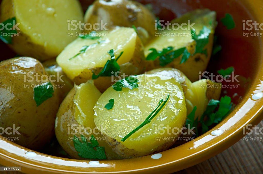 Herbelicious potato salad stock photo