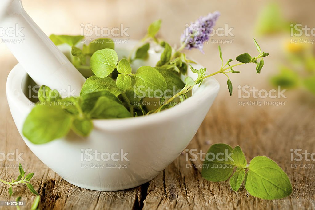 Herbes de Provence in a white mortar stock photo