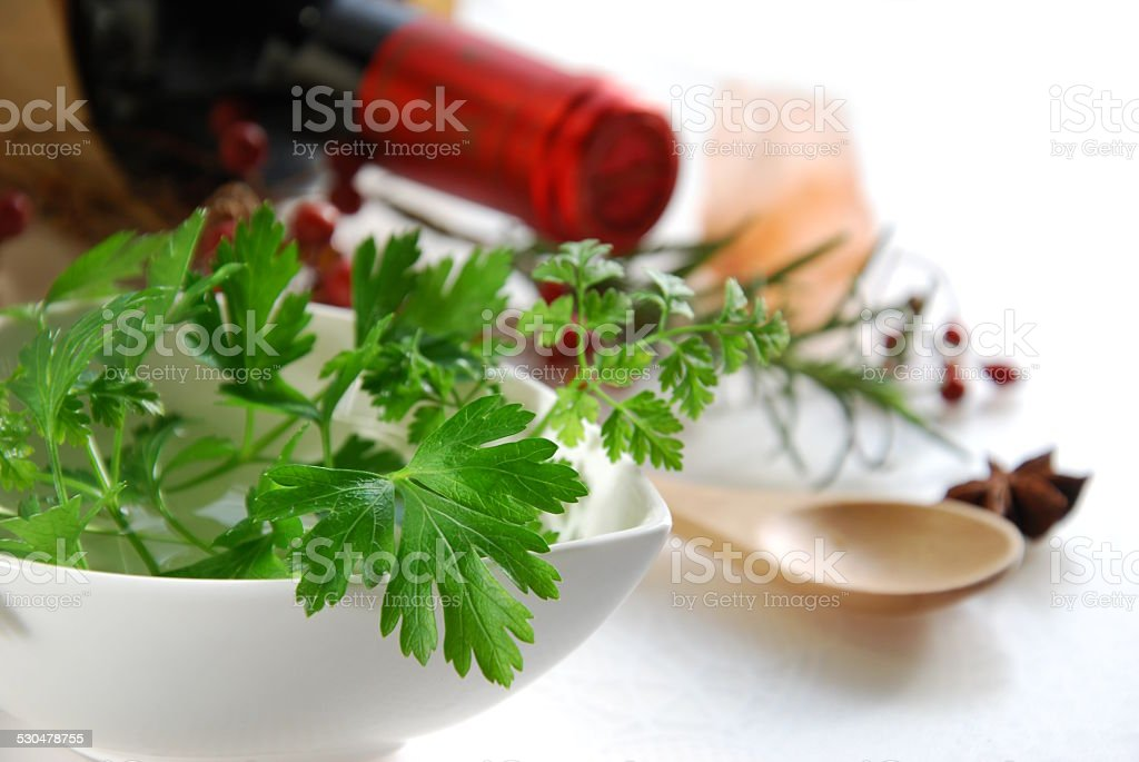 herbs and spice with wine stock photo