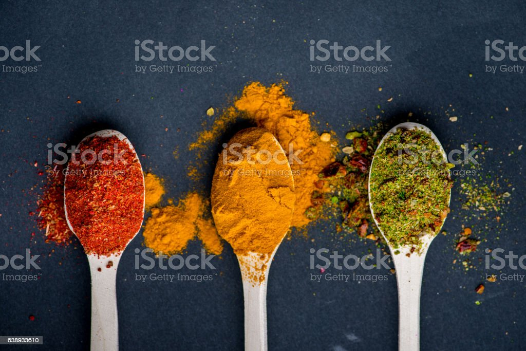 Herbs and spices background stock photo