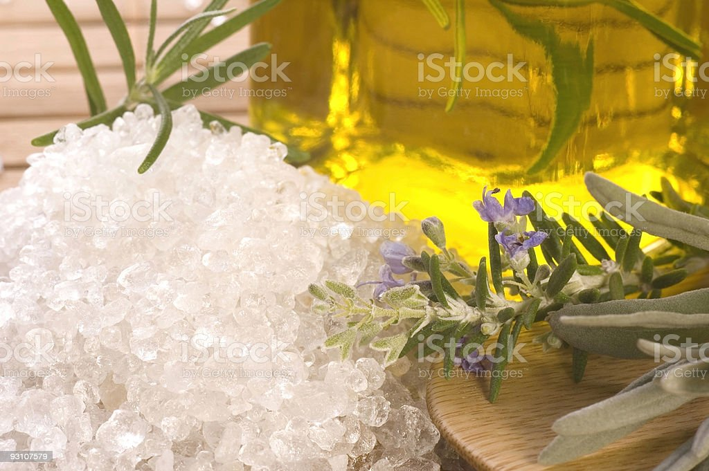 herbs and spices. rosemary, lavender, salt,oil royalty-free stock photo