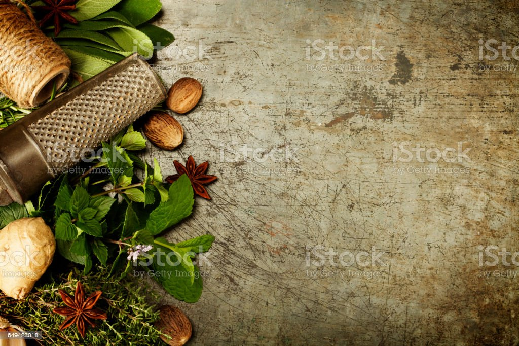 Herbs and spices selection stock photo