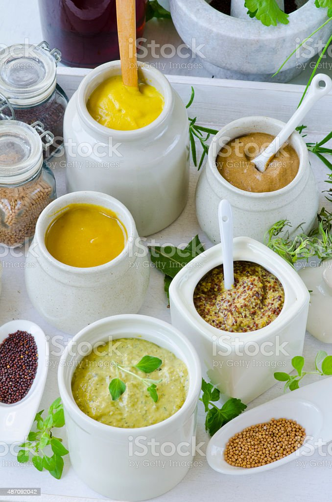 Herbs and Spices. Variety of Mustards. stock photo