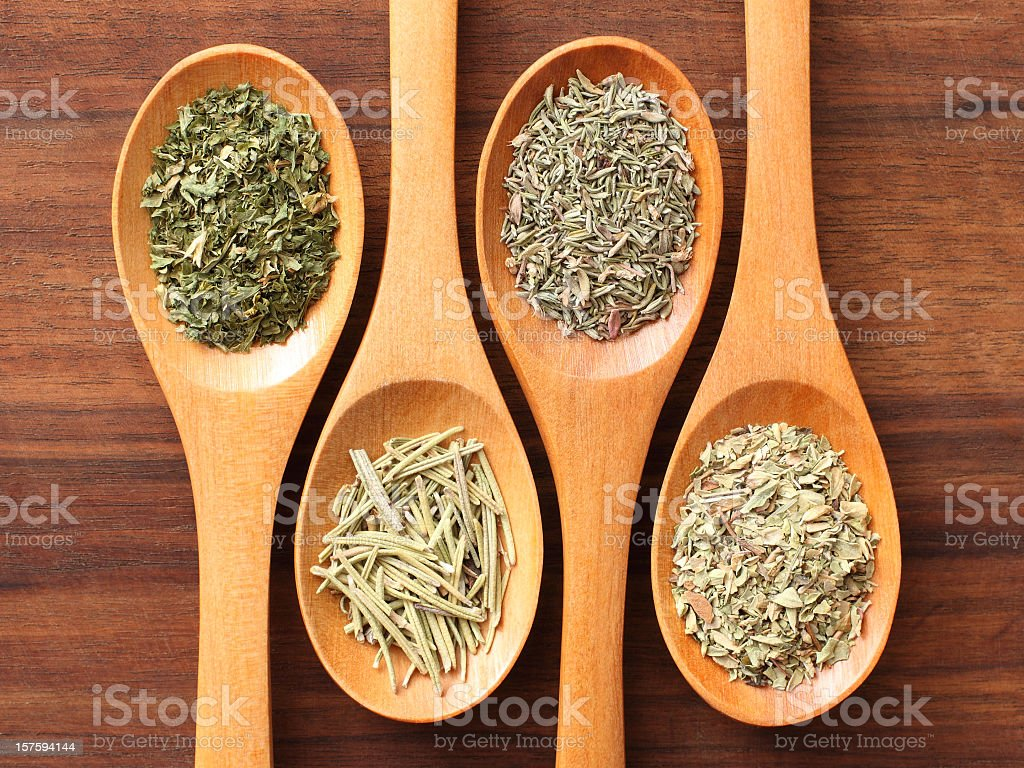 Herbs and spoons royalty-free stock photo