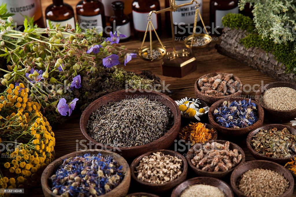 Herbs, berries and flowers with mortar, on wooden table backgrou stock photo