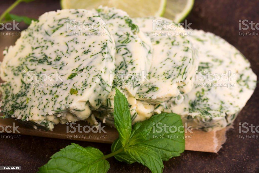 herbs butter stock photo