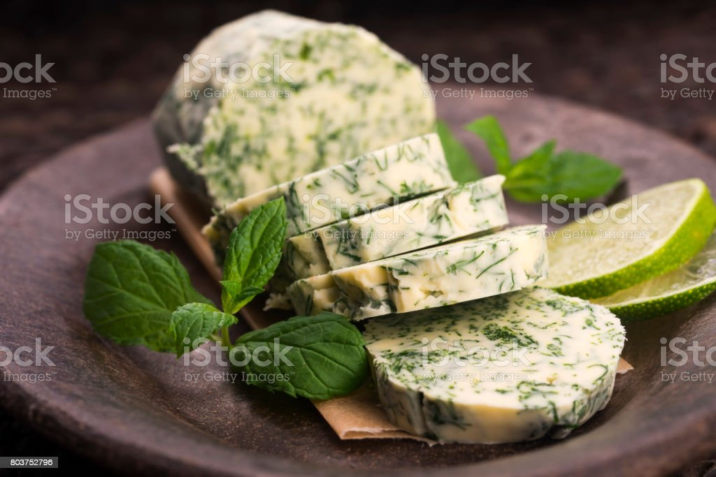 herbs butter stock photo