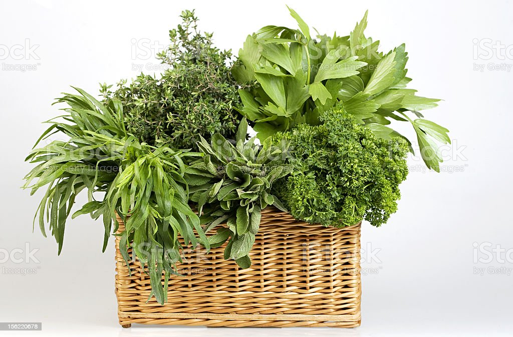 herbs in basket royalty-free stock photo