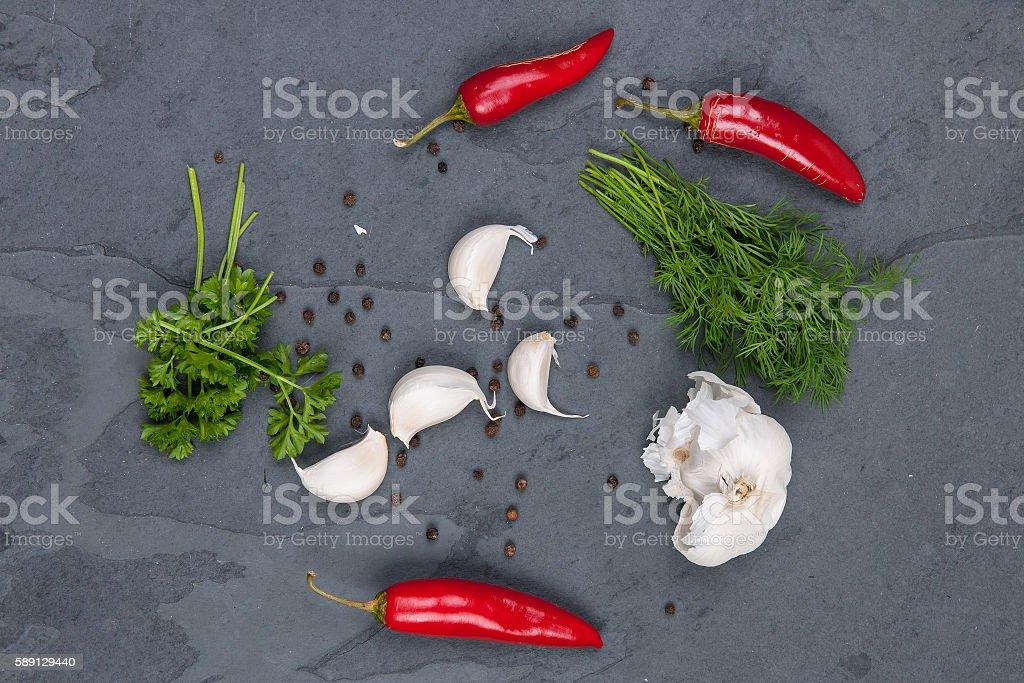 Herbs in kitchen stock photo