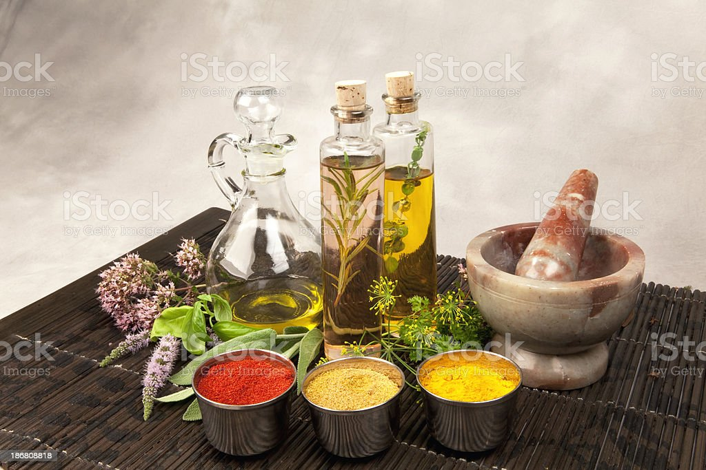 Herbs, Oil and vinegars royalty-free stock photo