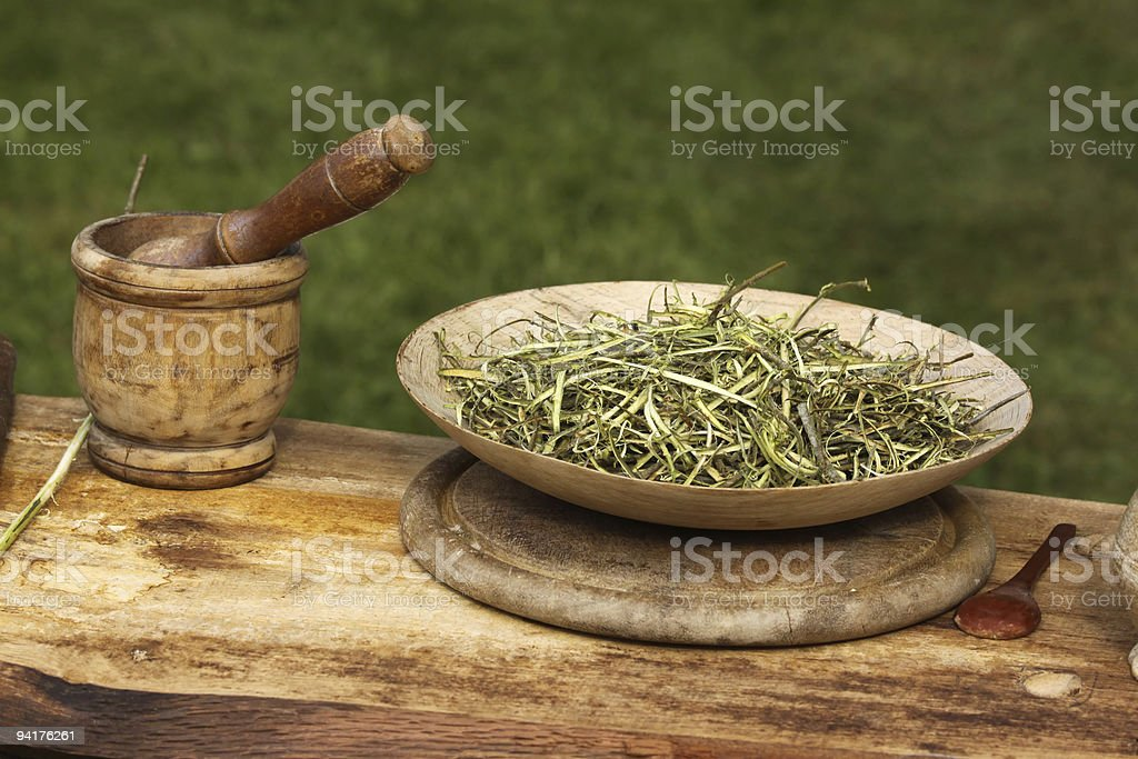 Herbs on a plate stock photo