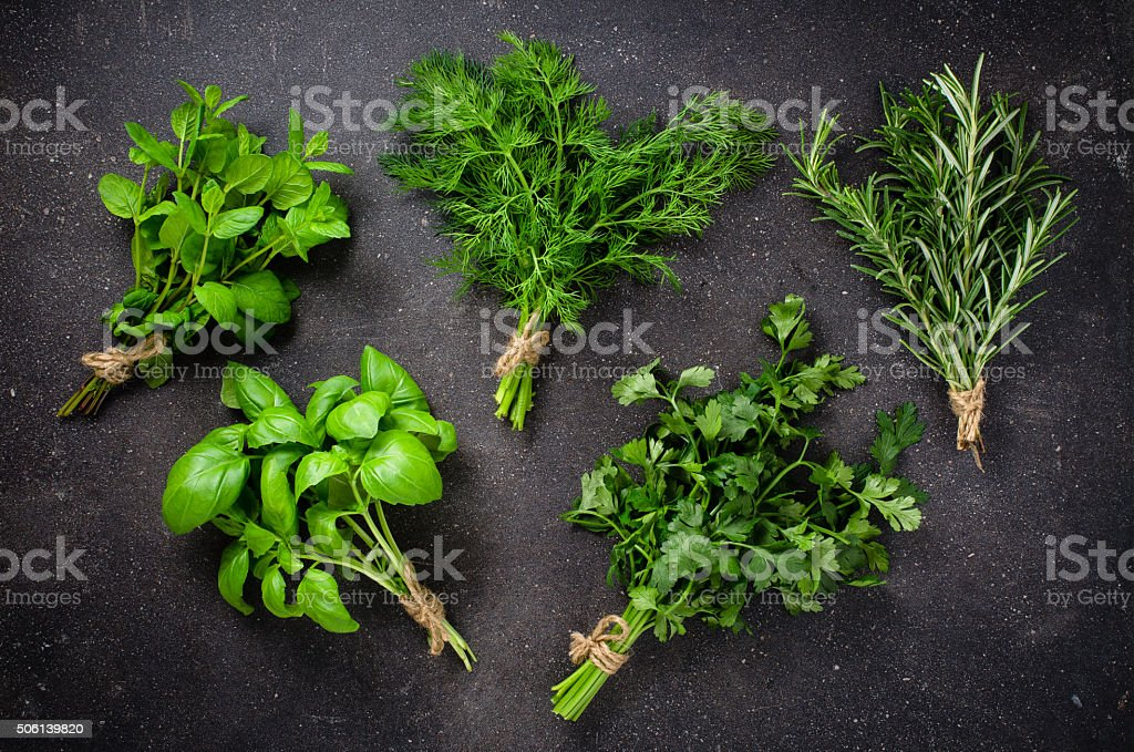 Herbs on dark background stock photo
