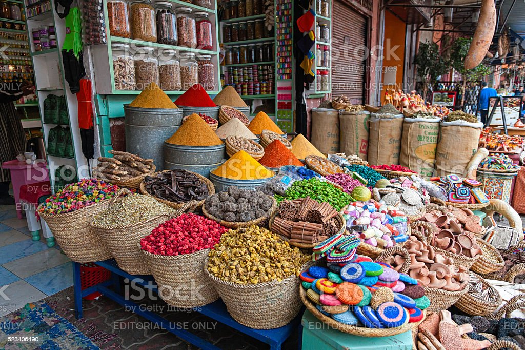Herbs, spices and dry flowers in Marrakesh souk stock photo