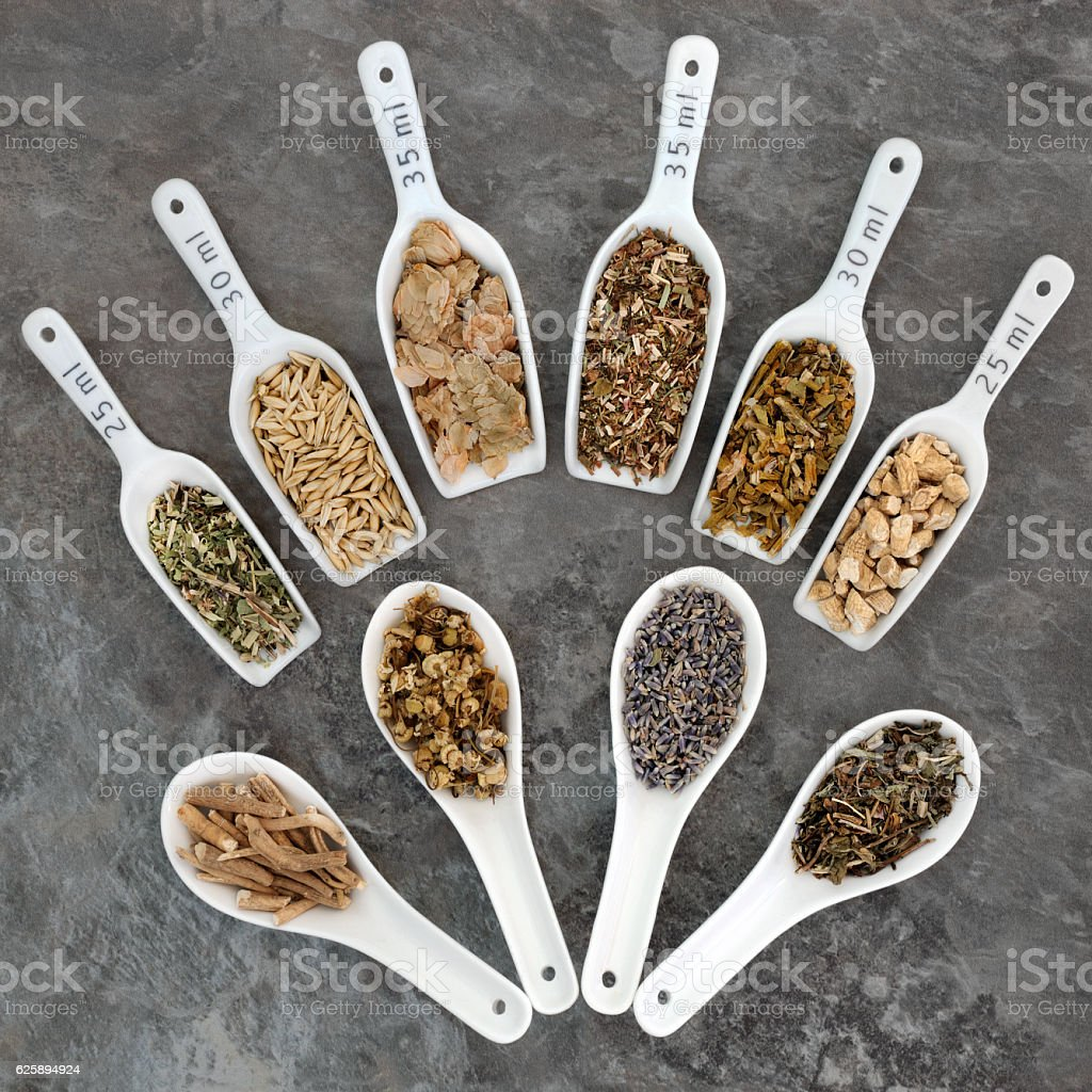 Herbs to Heal Anxiety and Sleeping Disorders stock photo