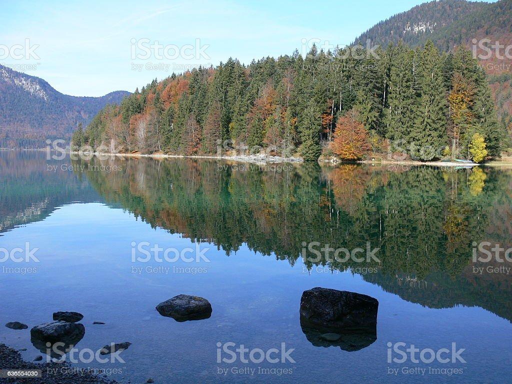 Herbst am Walchensee stock photo