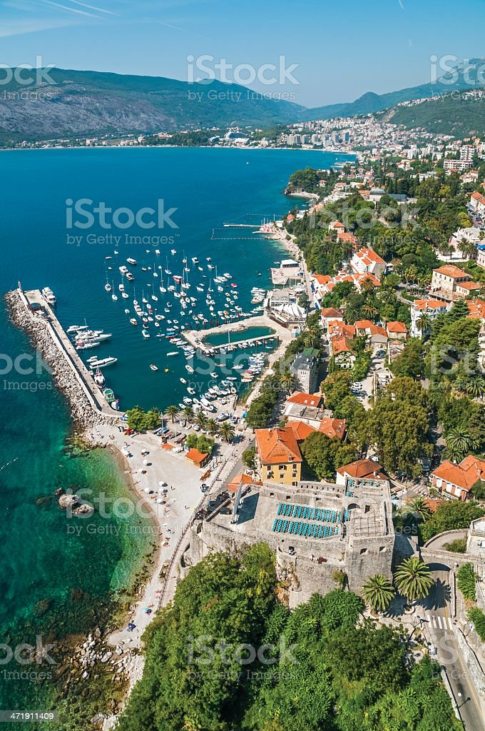 Herceg Novi, Forte Mare and Igalo aerial royalty-free stock photo