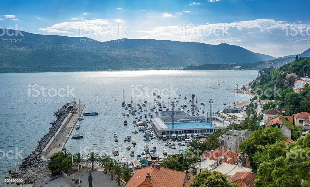 Herceg Novi harbor stock photo