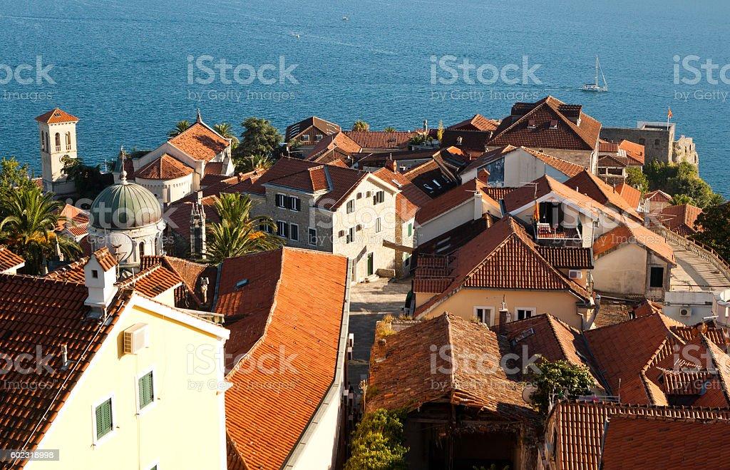 Herceg-Novi roofs, Montenegro. stock photo