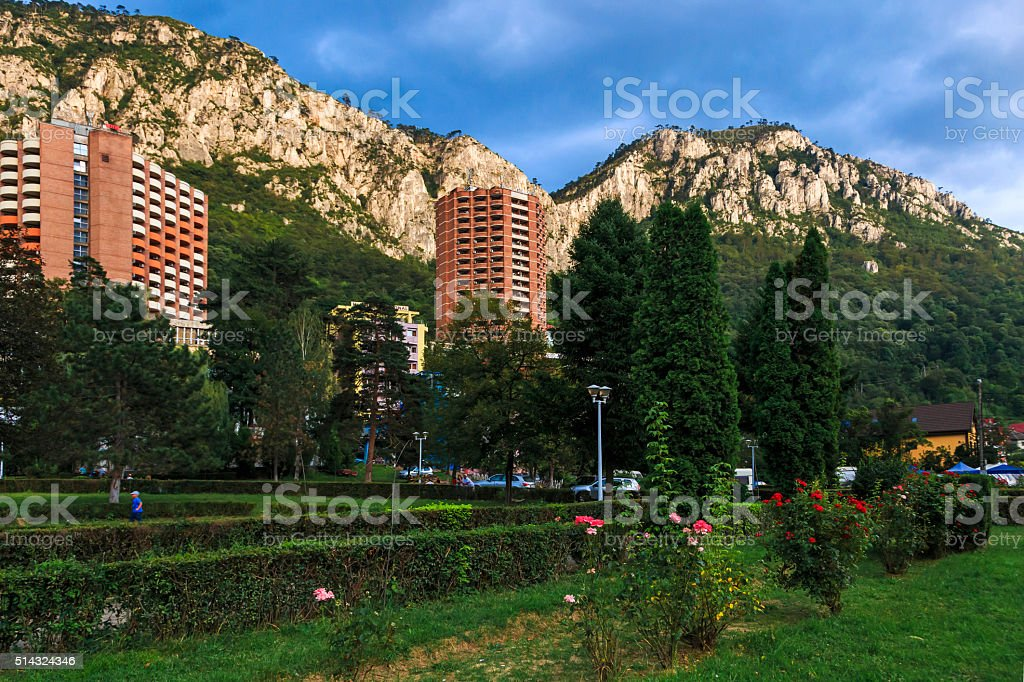 Herculane city with mountains in backgroud. stock photo