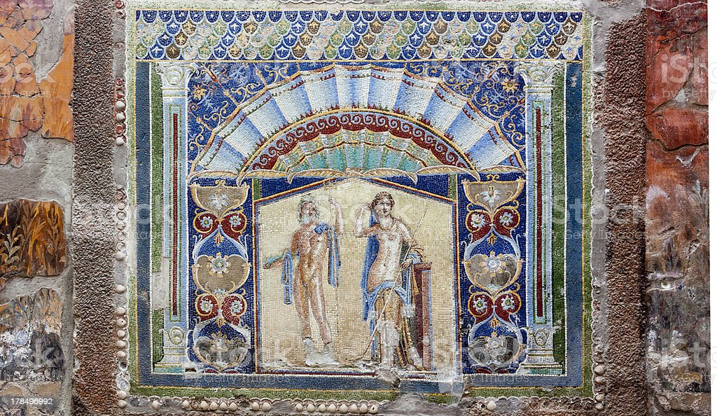 Herculaneum Mosaic stock photo