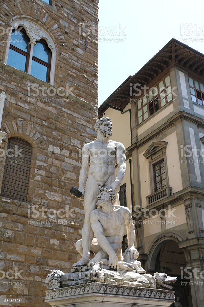 Hercules and Cacus at Piazza della Signoria in Florence Italy stock photo