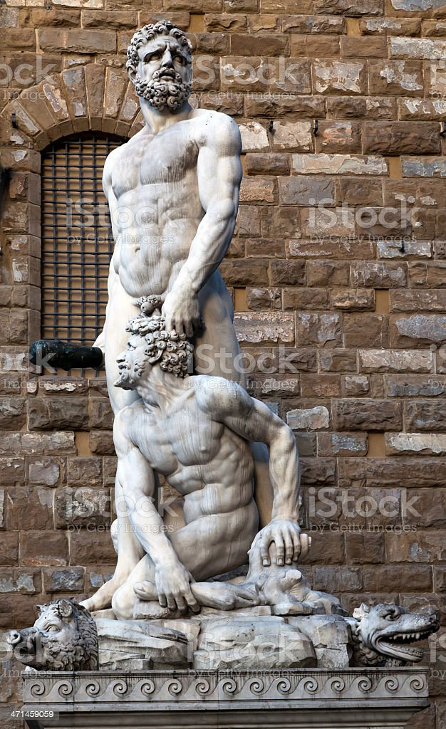 Hercules and Cacus by Bandinelli  (1533) royalty-free stock photo