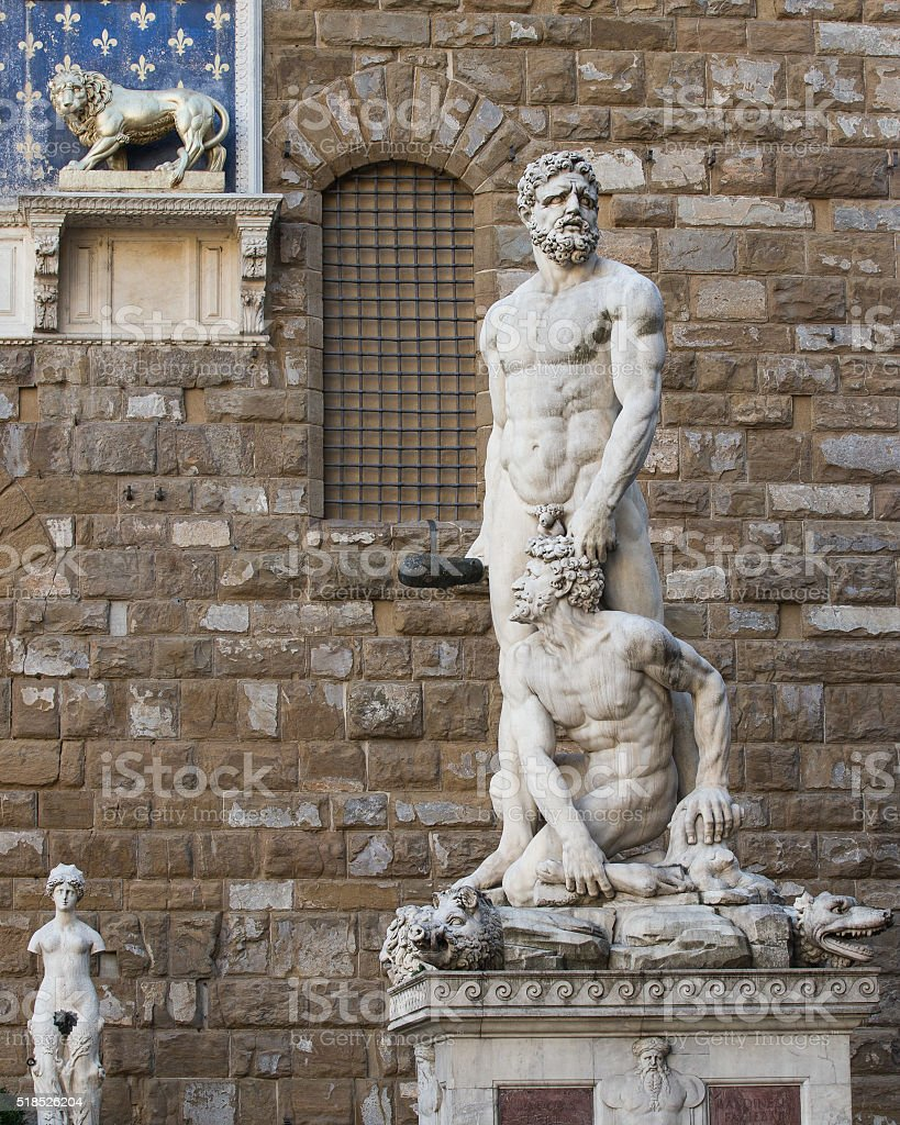 Hercules and Cacus Statue in Florence, Italy stock photo