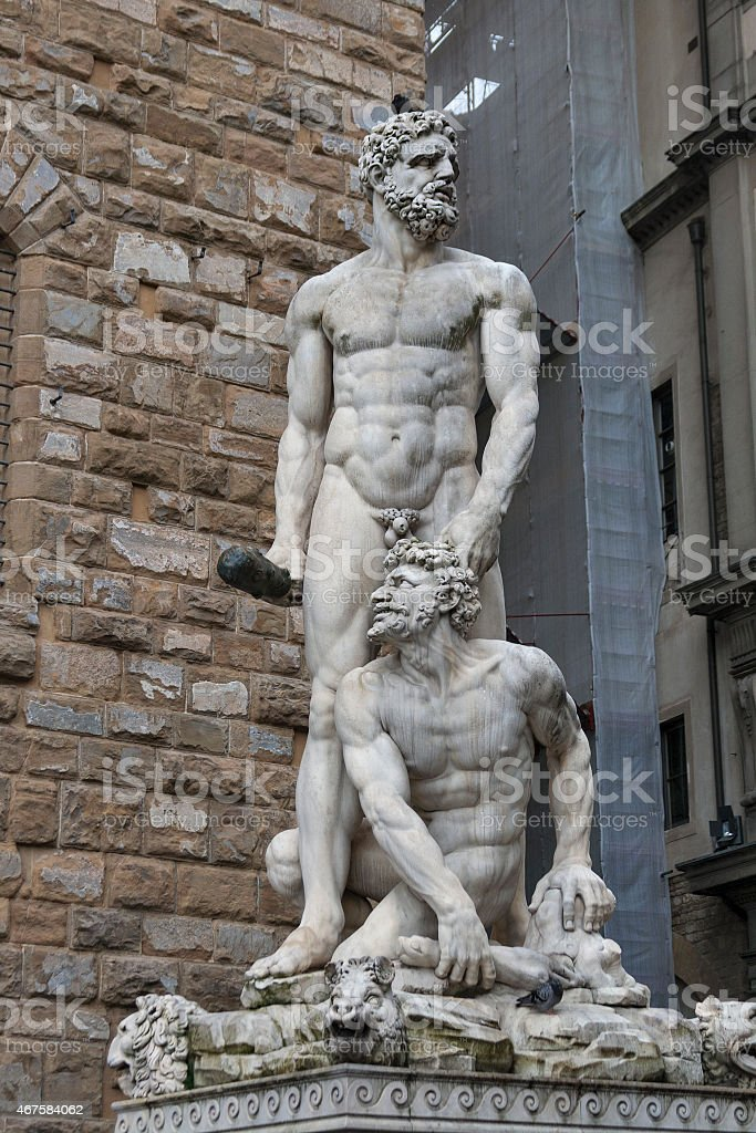 Hercules and Cacus statue in front of Palazzo Vecchio, Florence stock photo