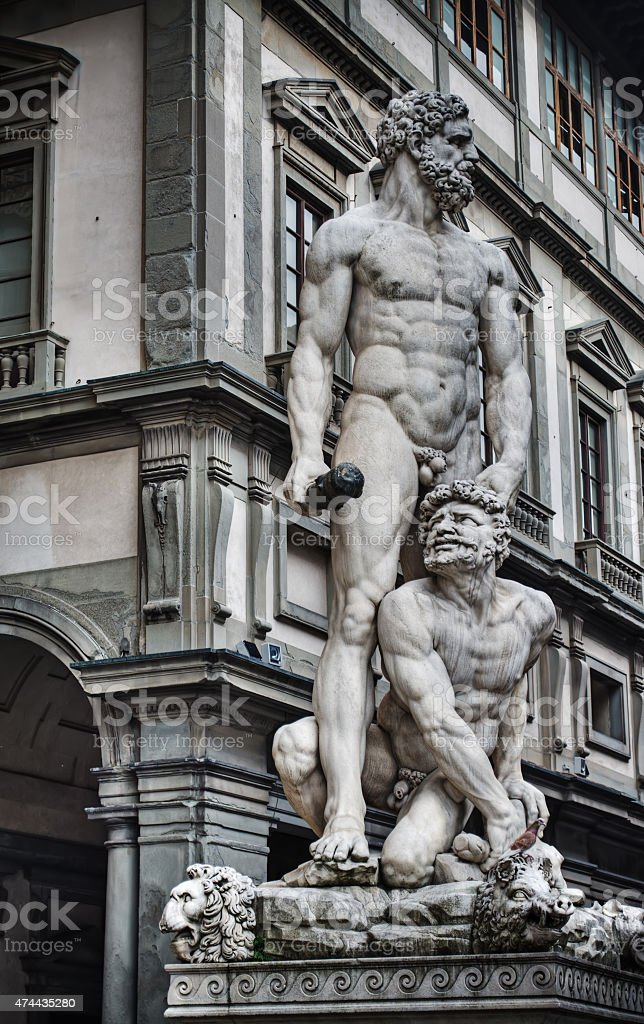 Hercules and Cacus statue in hdr stock photo