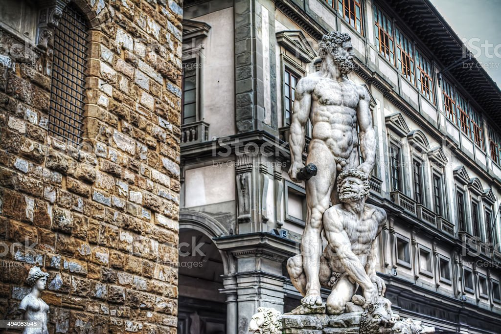 Hercules and Cacus statue in Piazza della Signoria in Florence stock photo