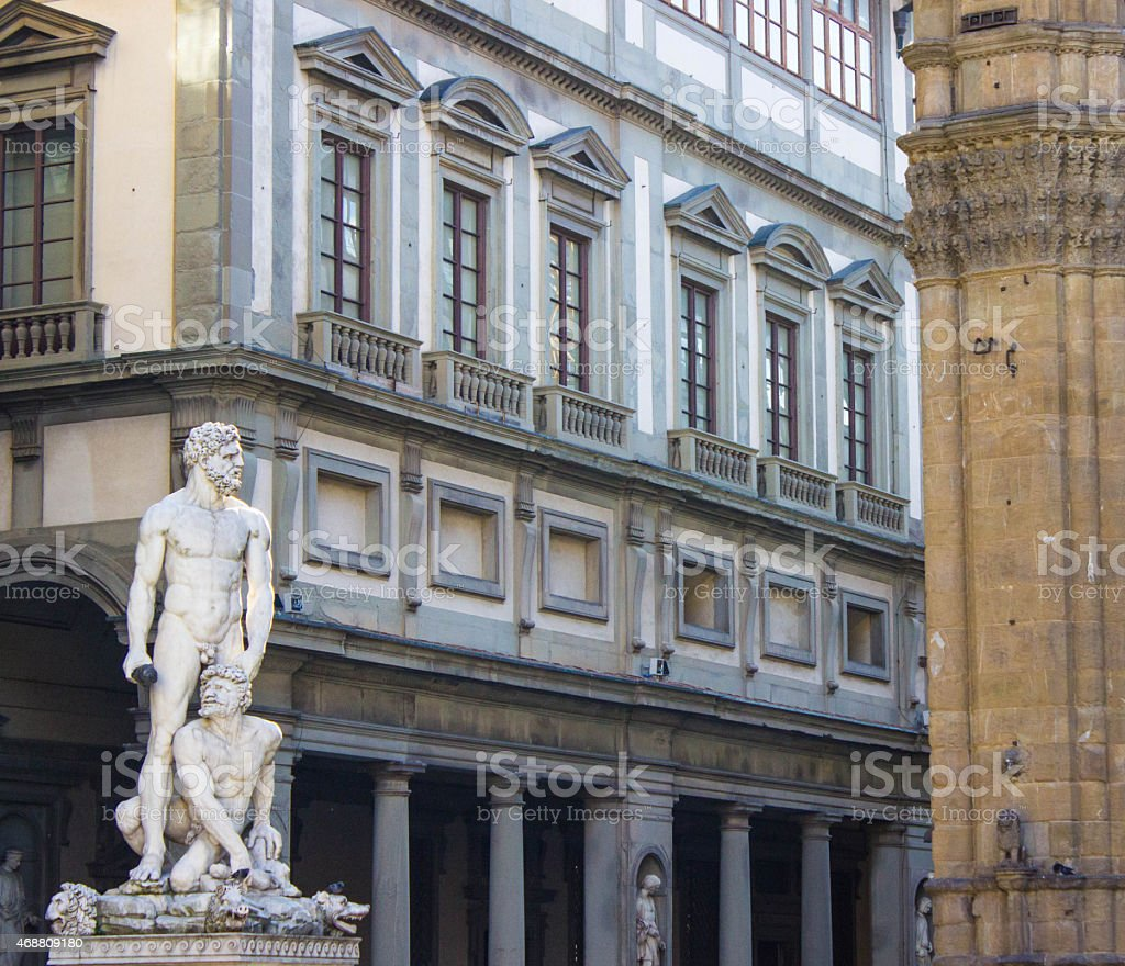 Hercules and Cacus Uffizi Gallery stock photo