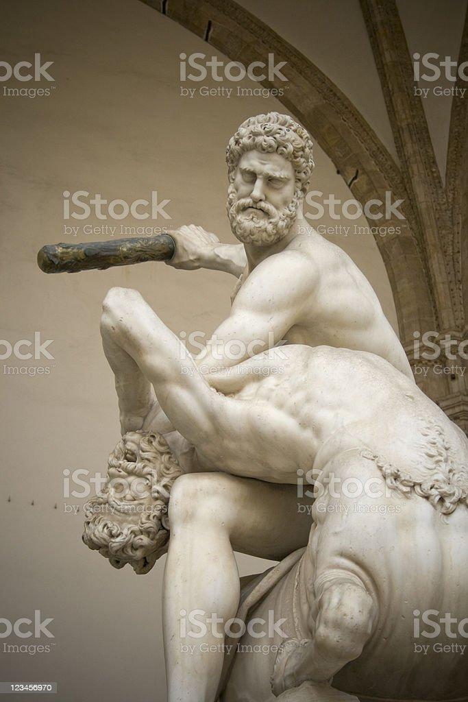 Hercules beating the Centaur Nessus stock photo