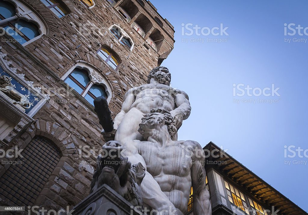 Hercules, Cacus and the Palazzo Vecchio stock photo