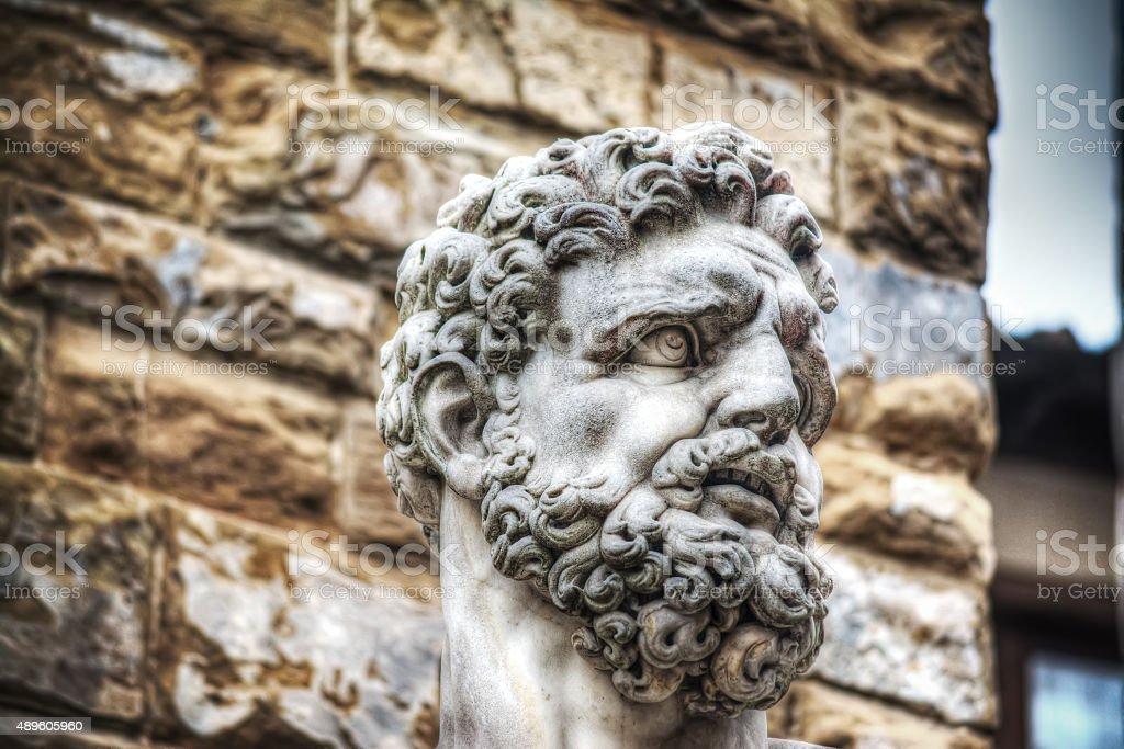 Hercules head in Piazza della Signoria in Florence stock photo