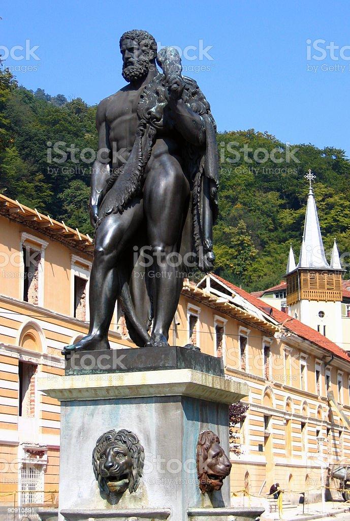 Hercules Statue in Baile Herculane, Romania stock photo