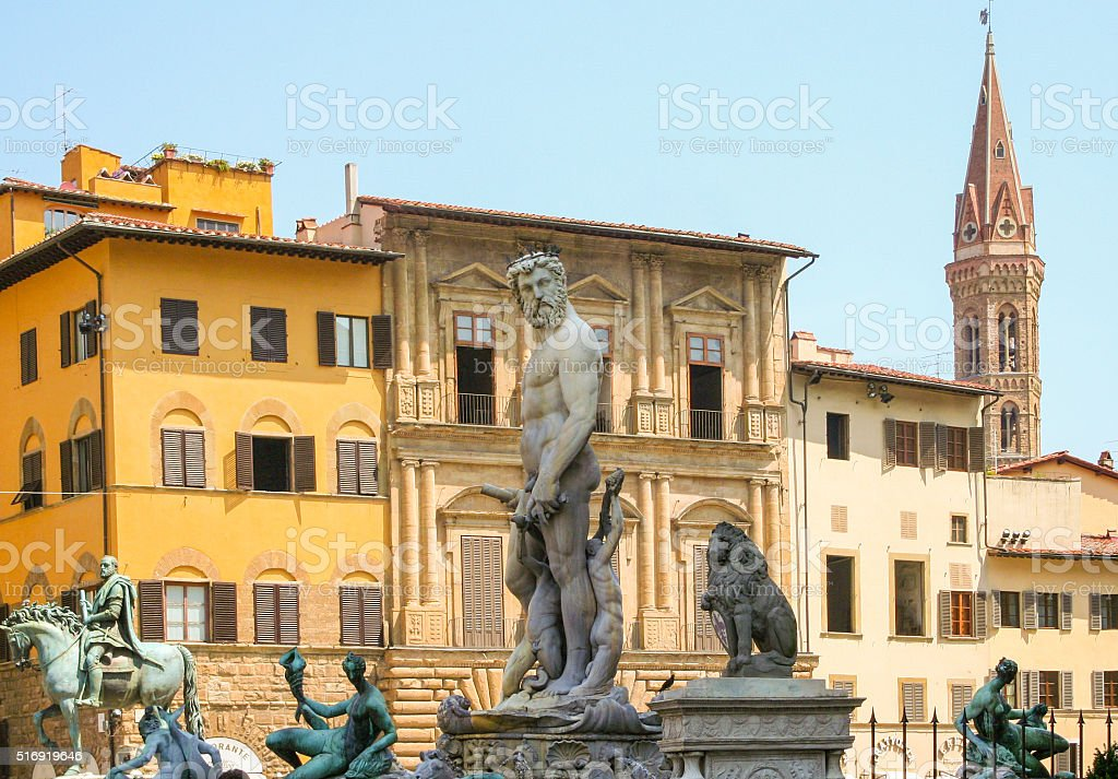 Hercules statue in fountain of Neptune Florence stock photo