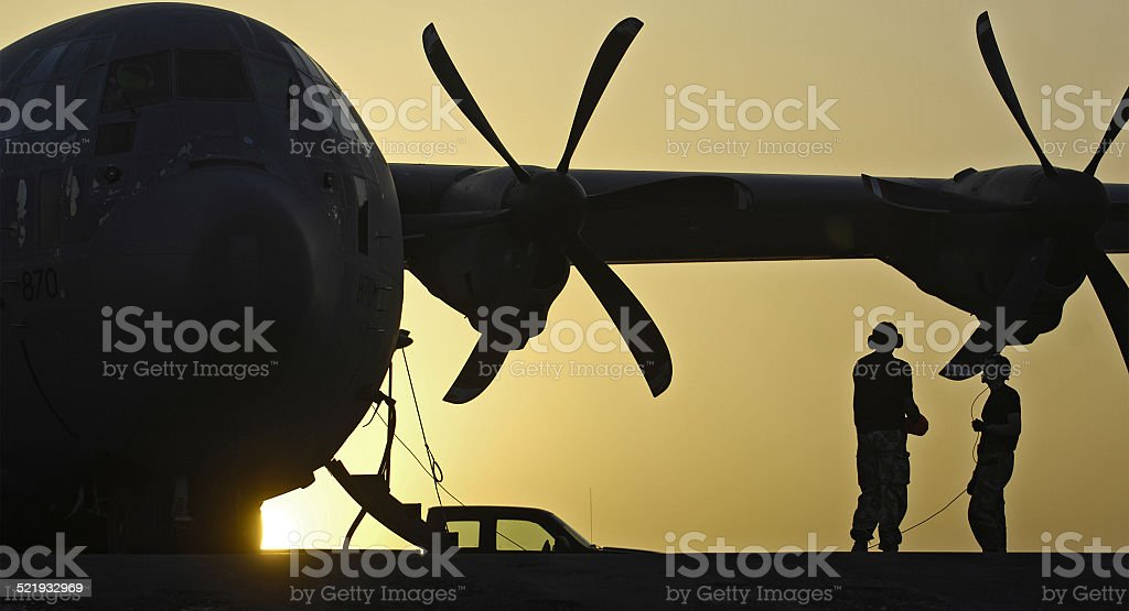 RAF C-130 Hercules taxis across desert Helmand Province, Afghanistan stock photo