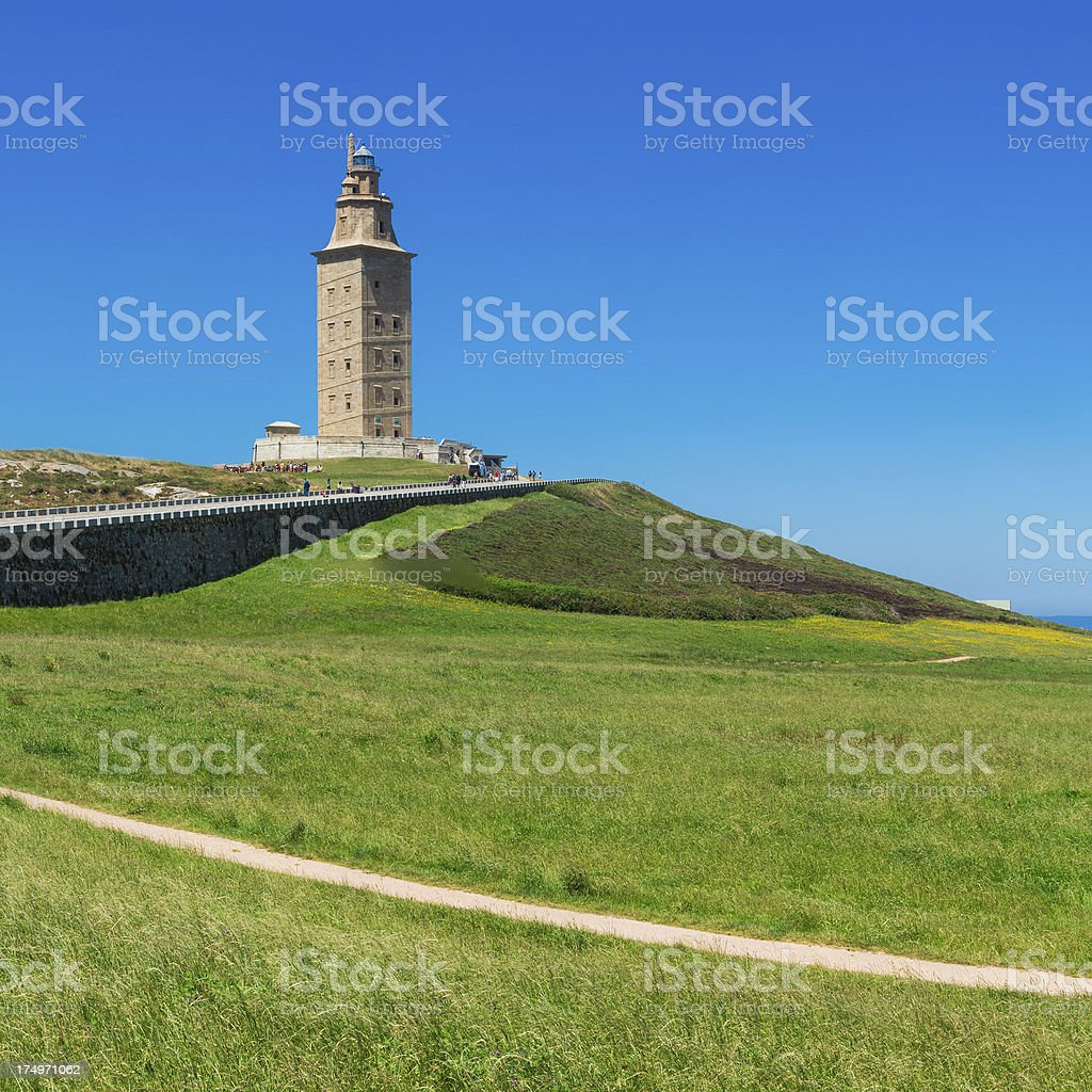 Hercules Tower in Coruna stock photo